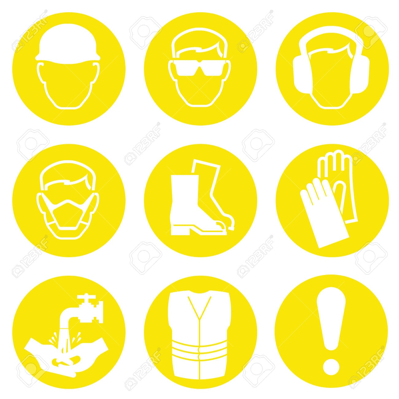 37755037-Yellow-Construction-Industry-Health-and-Safety-Icons-isolated-on-white-background-Stock-Vector